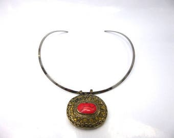 Afghan coral necklace mounted on stainless steel Choker
