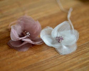 3 flowers made of silk organza