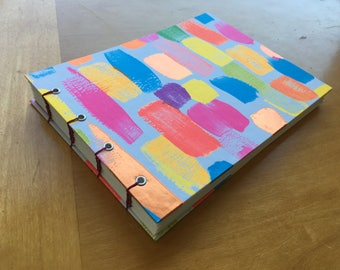 Neon Brushstrokes Sketchbook // Handmade Notebook // Hardcover // Coptic Stitch // Bright Colors // Fun, Unique Gift Under 10