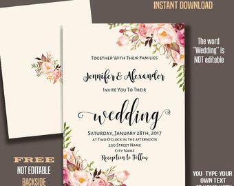 Wedding invitation, Printable Wedding templates, Boho Floral Bohemian invitations, Instant Download Self Editable PDF A239