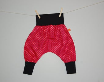 Hot pink harem pants with polka dots / black, size 2 years