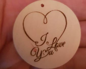 """Engraved """"I love you"""" heart"""