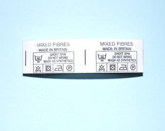 Sew On Washing Intructions Labels - 38mm x 20mm - Clothing Labels