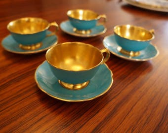 Paragon Turquoise and Gold Demitasse Set (4)