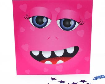 pink monster card, cute monster, fun monster, little monster, kids cards, monster birthday, kids birthday card,  any occasion cards, happy