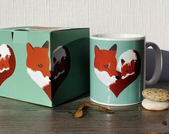 Fox gift fox mug Mothers Day gift fox coffee mug Fox art Fox Coaster new mother gift fox lover woodland art wildlife art mug birthday gift