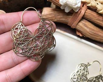 Röötz - SEED of life Hoop Earrings, Tribal Earrings, Tribal Jewellery, Brass earrings, Ethnic Jewelry, Bohemian Earrings,hippie, dangle