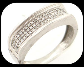New 66 Diamond (0.32 CTW) Anniversary Band RING 925 Sterling Silver