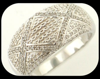 New 46 Diamond (0.25 CTW) Micro Pave 925 Sterling Silver Band RING