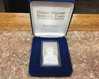 Honus Wagner half pound silver Proof Baseball Card in box