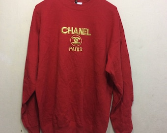 vintage 90s chanel paris sweater shirt made in usa size XL rare!!