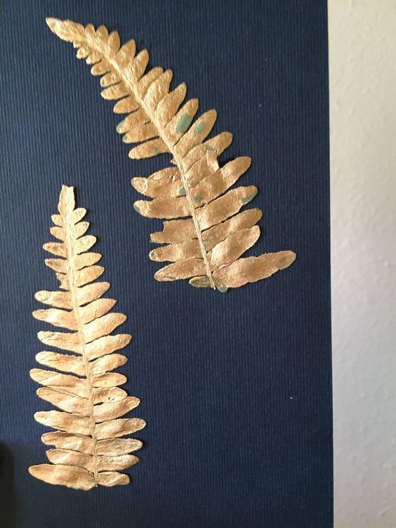 Gold Leafed Mountain Fern Herbarium Art - Gold Leaf Botanical- Real Pressed Fern Artwork- Vintage Botanical- Framed Fern Art- Gold and Navy