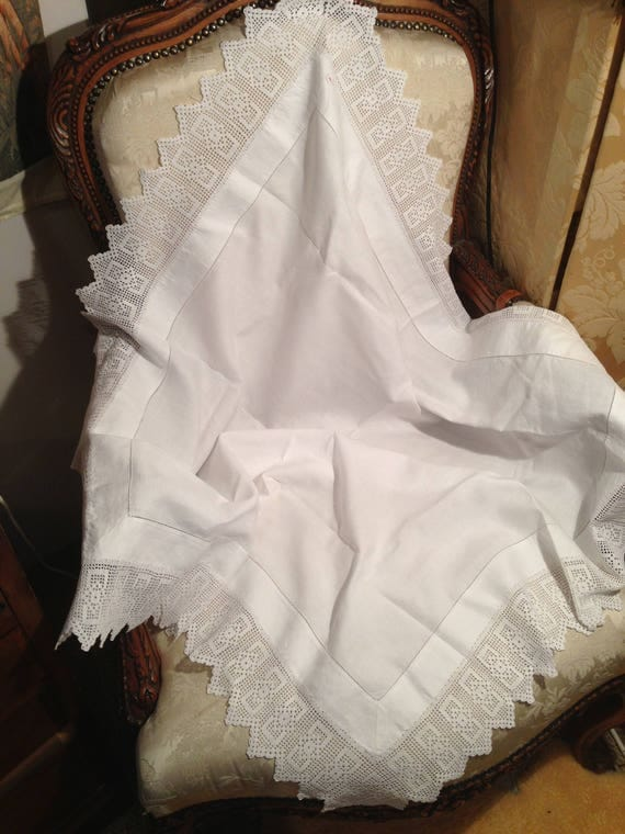 Edwardian crochetwork 38 ins square tablecloth. Strong