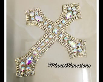 X-Large - Rhinestone Cross Applique/ Swarovski Shine/ Baptism/ first communion #CR-1