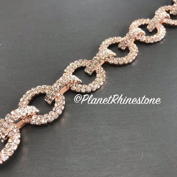 Rose Gold Rhinestone Chain Trim Swarovski Shine #0112