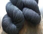 Basic Black- Hand Dyed Superwash Merino Nomad Sock Fingering Yarn