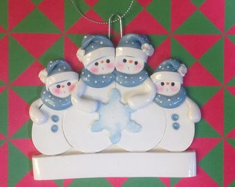 Snowman family of 4 with blue scarfs polymer clay personalized ornament!