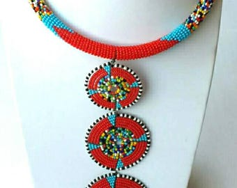 Long beaded pendant necklace, African jewelry, handmade maasai necklace