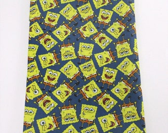 """Tissu Coton imprimé thème """" Bob l'éponge """" Blue"""