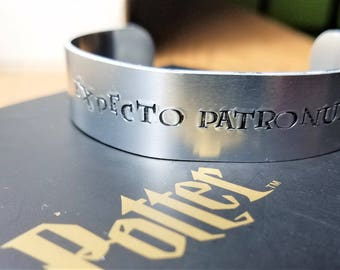 """Hand Stamped """"Expecto Patronum""""  Harry Potter Inspired Bracelet"""