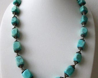 ON SALE Retro Southwestern Inspired Heavier Stones Bali Spacers Necklace 71417