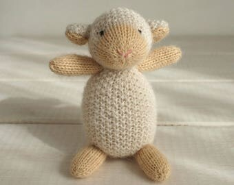 Soft toy little sheep - knitted toy, woolly toy sheep, soft toy, newborn toy sheep, newborn prop toy, waldorf toy, plush toy, crochet toy
