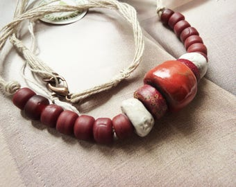 Necklace rustic nature hemp and raku ceramic beads