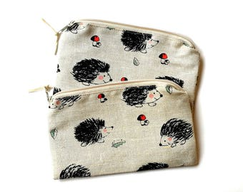 Linen With Hedgehogs - Make Up Bag - Small Zippered Pouch - Cute Pencil Case - Crochet Bags - Makeup Organizer - Purse Organizer - Small Bag