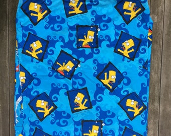 Vintage 90's The Simpsons Bart Simpson Double Sided All Over Print Kids Single Duvet Cover Retro Hipster Cartoon Simpsons Childrens Bedding