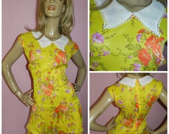 15% off Vintage 1960s Yellow/Orange PETER PAN Collar drop waist Dolly Mod Scooter dress 16 L 60s Semi Sheer Kitsch Modette