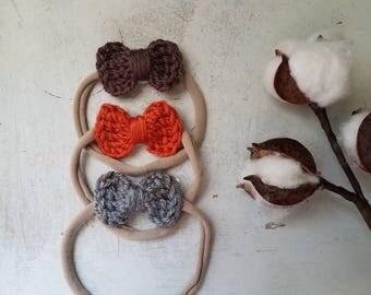 Set of 3 Small Headbands/ Girl Nylon Headband Sets / Baby Shower Headband Sets / Nylon Headbands / Small Bow Headband Sets