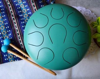 "New 10"" Handmade Steel Tongue Drum handpan , Amazing sound for healing, therapy, meditation, zen, yoga,"