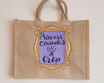 Princess Consuela's Bag of Crap - Hand painted jute bag