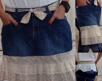 SALE Denim half apron cotton vintage beige and blue print ruffle ecru eyelet lace ruffle long cotton ties half apron repurposed denim apron