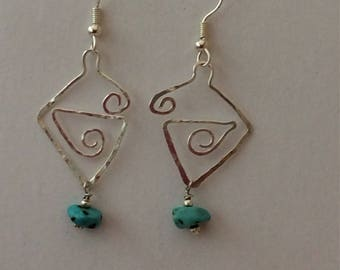 Hammered Silver and Turquiose Earrings