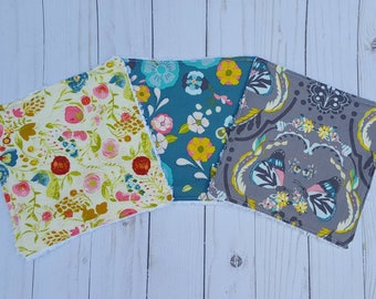 Floral Garden washcloths- set of 3, baby shower gift girl,  reusable wipes, cloth wipes, wash cloths, bath accessories, baby girl