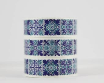Washi tape Moroccan tile blue