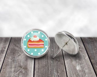 Cake Earrings, 12mm Stud Earrings, Vintage Earrings, Cottage Chic, Boho Earrings,