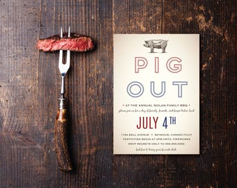 Pig Out DIY Printable BBQ Invitation