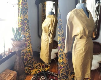 50's 60's 1960s 1950s Wiggle Skirt and Shirt Set Suit Leather Chartreuese Stunning Small Wiggle Bombshell S Dress Vintage