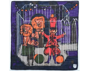 Lion Tamer in Cage with 2 Lions vintage ladies' or children's handkerchief, circus hankie, hanky, Stoffels Swiss-made