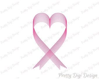 Heart pink ribbon, Breast Cancer Ribbon Svg, Dxf, PNG hope symbol, Survival campaign digital sign, support, cause, help, faith, fight, cure