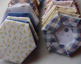 """EPP pre-made pieces 1.5"""", set of 50 hexagons, hexies made from scrap fabric, finished English paper hexagons, EPP hexagon sewing supply"""