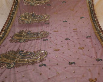 net sequin stole,indian net dupatta,vintage stole,vintage dupatta,vintage fabric,vintage sarong, sarong fabric,hijab, embroidered fabric