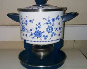 Blue and white floral fondue pot vintage, fondue set