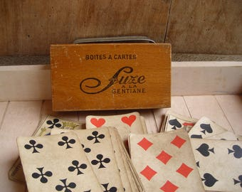 Publicity Box of Playing Cards. French Vintage box of Cards. French Playing Cards.