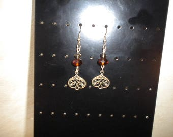 Pierced earrings handmade metal and Crystal bead