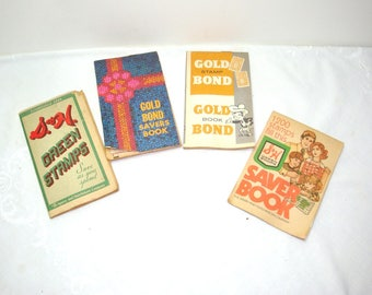 Gold Bond books and S&H green stamp books filled with stamps. 4 books from the 1960's for your vintage kitchen decor or crafting ideas.
