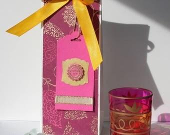 Oriental motifs pink/gold - bright orange satin ribbon gift bag