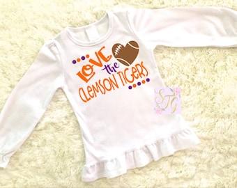 Clemson Football Shirt, Clemson shirt for baby, Clemson shirt for girl,  Clemson shirt for baby, Clemson baby shower